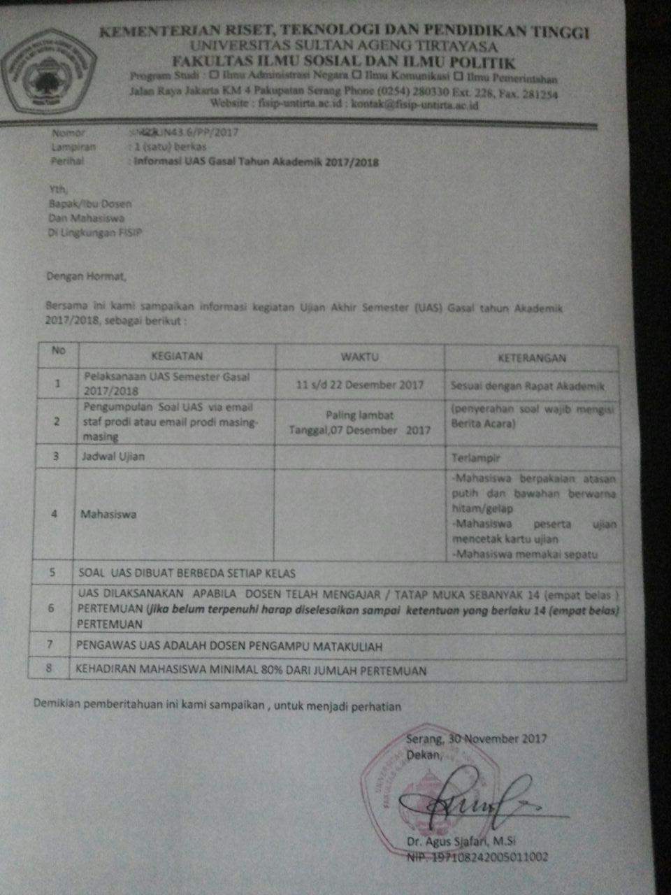 Tata Tertiba Pelaksanaan UAS Gasal 2017/2018