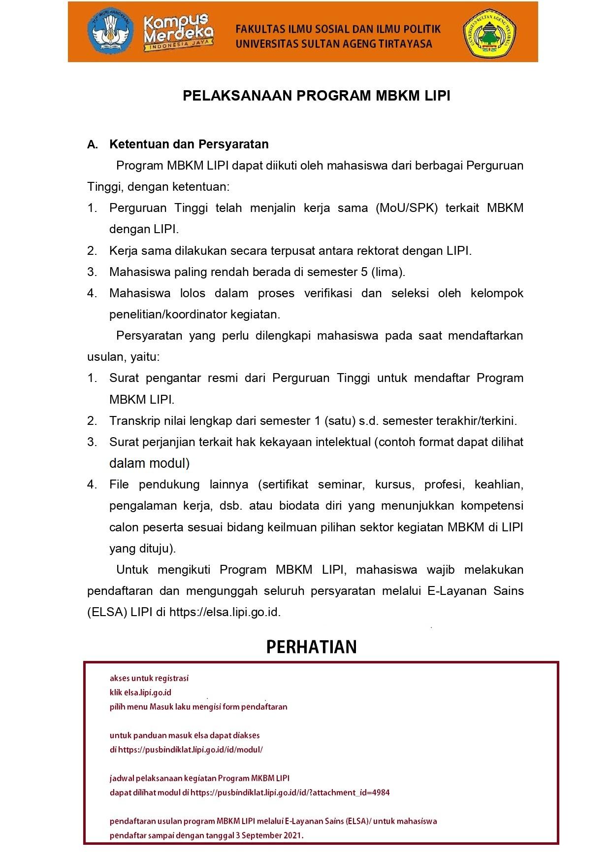 Program MBKM LIPI tahun 2021